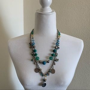 Blue green and silver fashion necklace